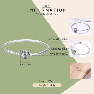 Image 2 - COUPON SAVE $2 100% 925 Sterling Silver Dazzling Clear CZ Round Clasp Snake Chain Bracelet Sterling Silver Jewelry SCB062