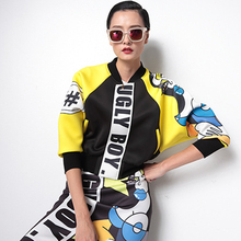 2016 Spring New Air Coat Picasso Abstract Personalized Style Europe Baseball Uniform Fashion Trendy Girls Baseball Jackets SY308