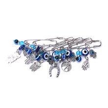1pc mode 7 style turquie mauvais oeil hamsa main hibou pendentif à breloques broche et broche bijoux accessoires pour femmes Clips de Boucle