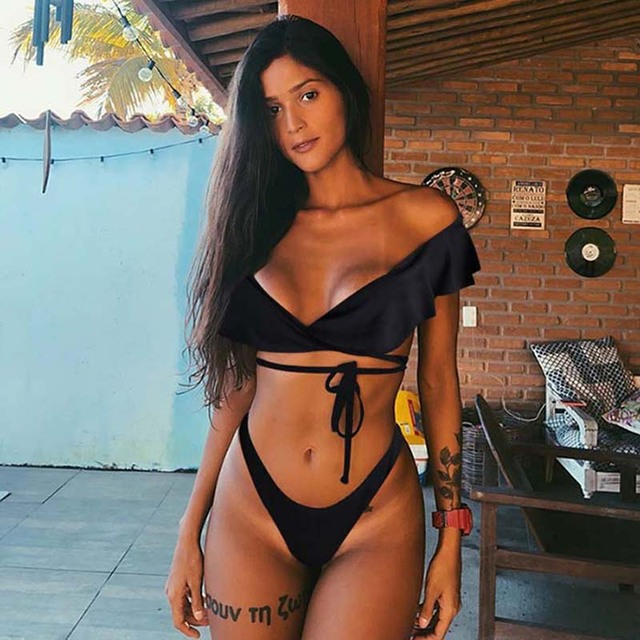 0afcc05bae19 2019 Bikini sexi para Mujer conjunto de brasileño con volantes Bikinis  traje baño Floral ropa playa Biquinis femenino