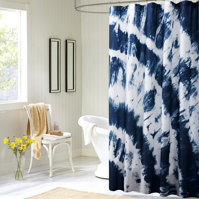 Printed Blue Mediterranean Style Elegant Shower Curtains Bathroom Curtain For Bath Polyester Products Free Shipping