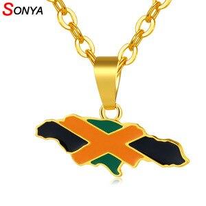 SONYA Jamaica карта и национальный кулон в форме флага ожерелья для женщин/мужчин золотой цвет ювелирные изделия ямайские подарки Bijoux
