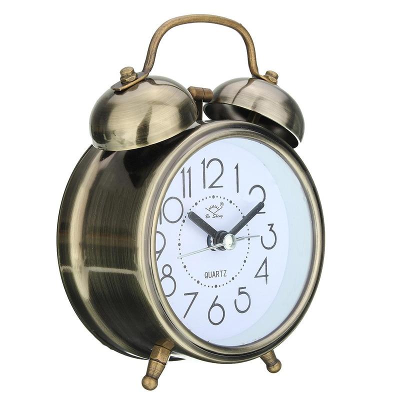 bab7810d6d3 Despertadores Silencioso do Vintage Relógios de Ponteiro Retro Duplo ...