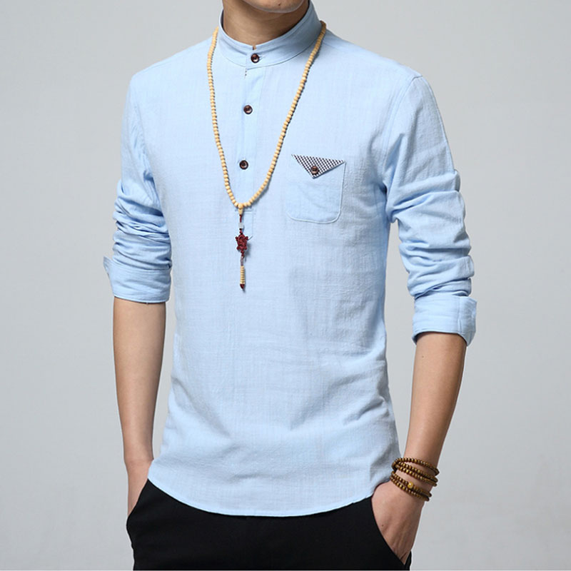 2017 New Fashion Men Linen Shirt Long Sleeve Casual Collarless ...