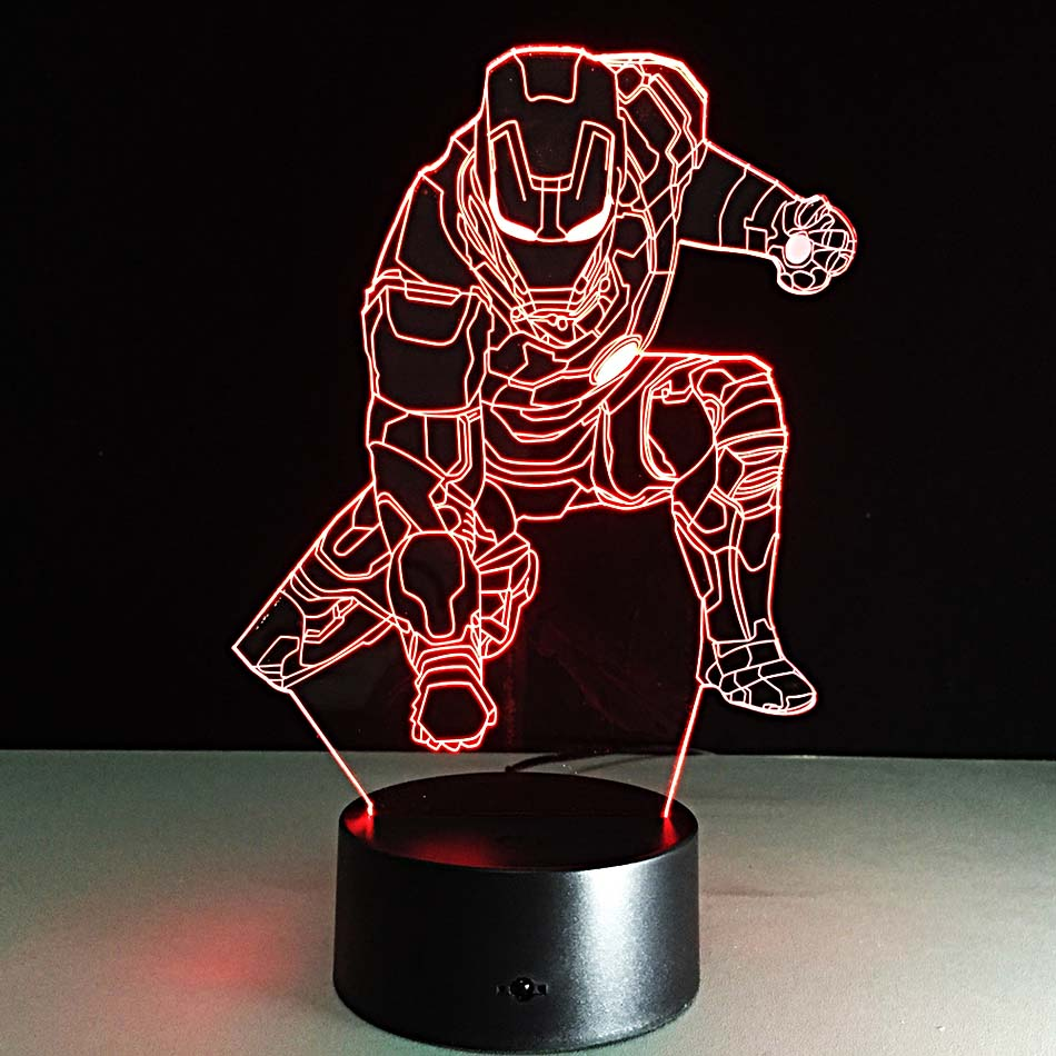 Lava lamp visualizer - Iron Man Dimming Lamp 3d Visual Led Sleeping Nightlight Touch Usb Table Lampara Baby Besides Illusion