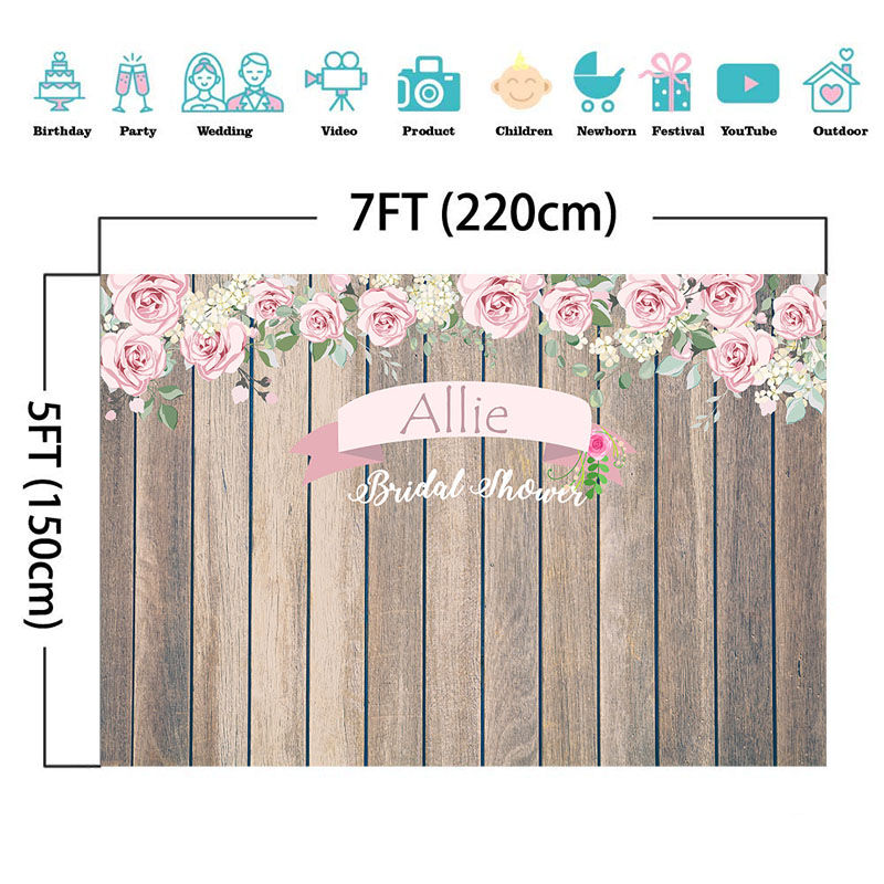 NeoBack Bridal Shower Backdrop Wooden Wedding Party Photo Studio Booth Background Rose Flower Custom Photography Backdrops in Background from Consumer Electronics