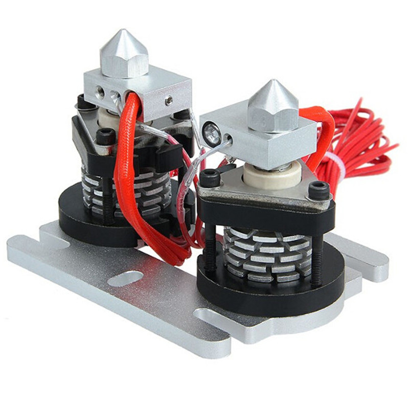 3D Printer Dual-head Hot End Extruder 0.3/0.35/0.4/0.5mm Nozzle Durable Quality 3D Printer Parts & Accessories 3pcs lot 3d printer parts assembled mk8 extruder hot end kit nozzle 0 2 0 3 0 4 0 5mm 12v 0 4mm accessories for creality 3d cr 7