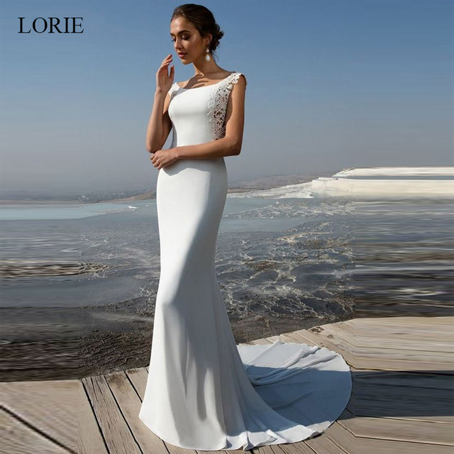 LORIE Mermaid Wedding Dress 2019 soft stain and lace Appliques Bride dress Summer sleeveless wedding dress, Wedding Party Dress