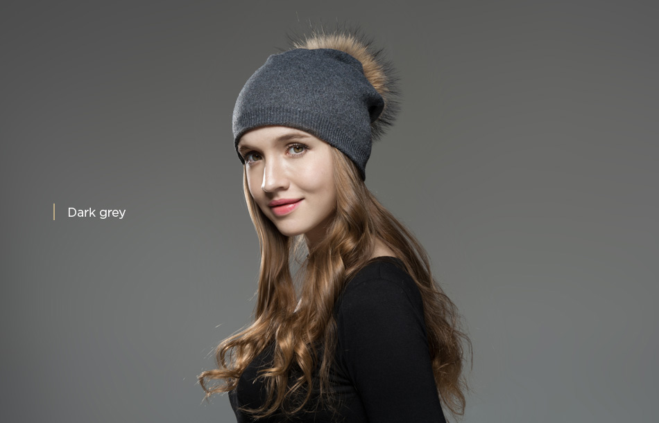 Mosnow Hat Female Women Raccoon Wool Fox Fur Pom Poms Warm Knitted Casual High Quality Vogue Winter Hats Caps Skullies Beanies1 (17)