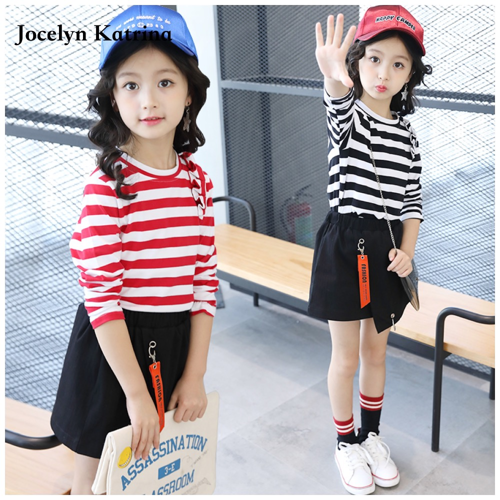 цены  Jocelyn Katrina 2017 spring autumn kids clothing sets girl tops and skirt set suits children clothes set suits girls tracksuits