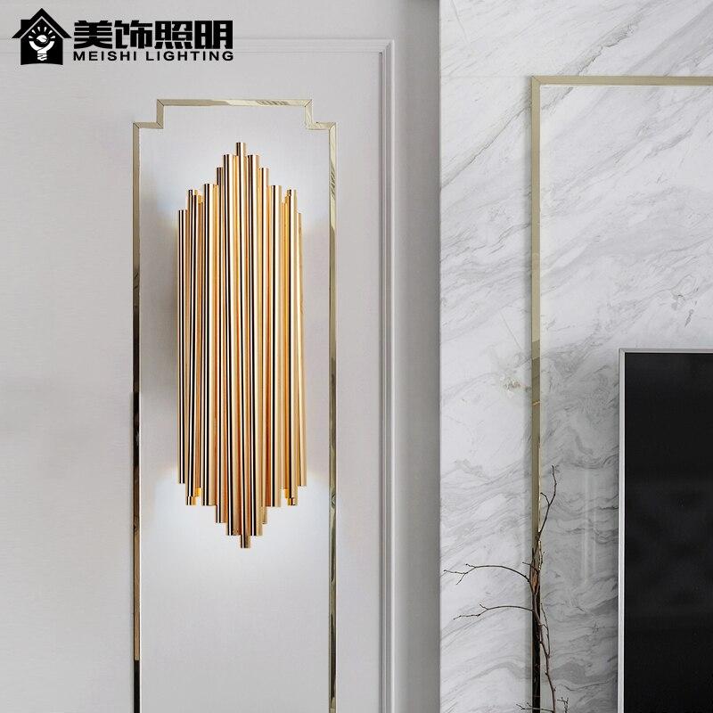 Luminaires muraux nordiques postmodernes ligne simplicité chambre lampe de chevet allée mur LED lampes luminaires salon luminaires
