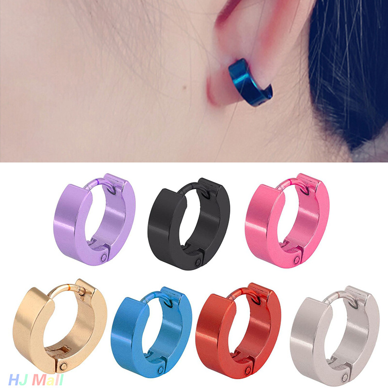 1pcs Punk Round Hoop Earrings Stainless Steel Simple Style Hoop Earring Circle Earrings For Women Man Fashion Jewelry circle