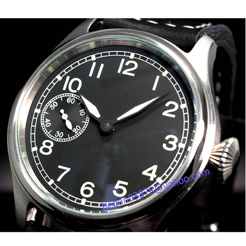 Parnis watch 47mm big crown black dial luminous ST3600 6497 mechanical hand winding movement Men's watch 90