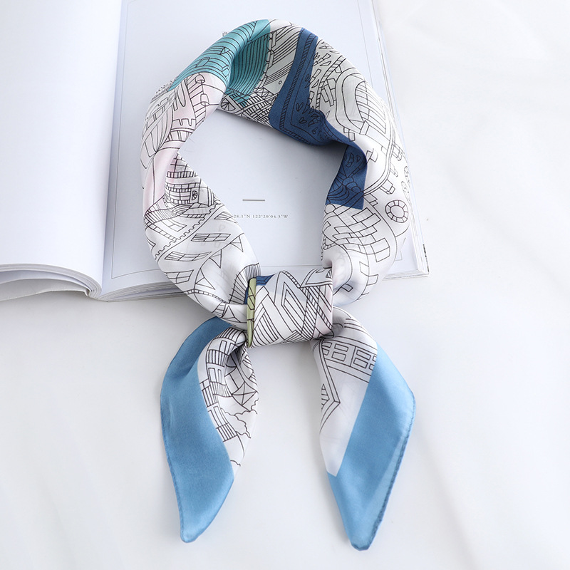 2019 Summer Luxury Brand Silk Scarf Square Women Shawls And Wraps Fashion Print Office Small Hair Neck Hijabs Foulard