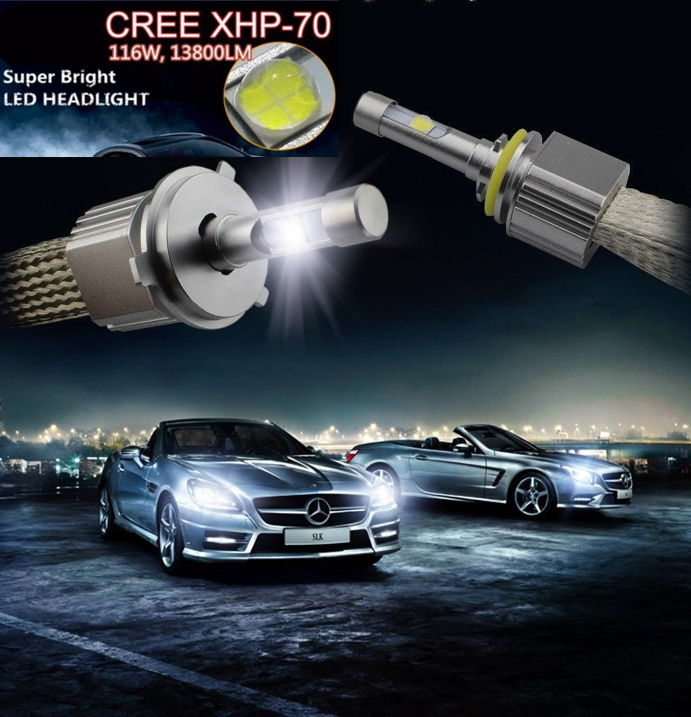 Car XHP70 Projector Lens Chip LED Headlight Kit Car Bulbs EMC driver H4 H7 H1 H8 H11 9005/06/12 XHP70 LED Headlight Bulb CANBUS