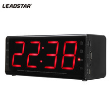 Features:   1. 5 IN 1 Bluetooth Alarm Clock: This device can act as your digital alarm clock, stereo Bluetooth speaker, FM radio, hands-free call, and music player(support TF card and 3.5mm auxiliary input) 2. 5.5 inch LED Screen Clock: Easy to see anywhere clearly in your room and the light will not disturb your peaceful sleep at night. Two different alarm sounds. The alarm clock mode can gently wake you up on time. You can choose radio or ringtone as an alarm sound on different operating modes. 3. Enjoy Music With Bluetooth Speaker: Simply connect speaker with your phone or any Bluetooth enabled devices to play music or make a phone call. It's cordless and easy to carry with you anywhere. 4. FM Radio: Built in FM digital tuning radio with strong reception and clear sound for you to enjoy music, news, story anywhere. Frequencies range from 87 to 108MHZ. Support playing by TF card, U disk and AUX audio cable. 5. Built-in High-fidelity Microphone: Supports hands-free calls. 6. Music Player: Support TF card and 3.5mm auxiliary input. 7. 40mm Loudspeaker With Diaphragm Unit: Provides 360 degree stereo and delivers crisp and clear sound. 8. Support bluetooth protocol and the effective range is up to 10 meters. 9. Width Compatibility: Compatible with all Bluetooth-enabled devices. Enjoy a high definition stereo sound with an impressive volume whether you're lounging around the house, or partying, walking out, camping, hiking and biking. 10. Easy controlling with buttons on the speaker, which is super convenient for you. 11. It looks good and is in a rectangular classic shape. The retro look matches perfectly with modern designed office or home furniture. Perfect for home, office and your bedside table.  Specifications: Brand: LEADSTAR Model: MX-20 Material: PC + ABS Consumption: 2 x 5W Bluetooth Version: 2.1 Effective Distance: 10M Charging Voltage: DC 5V Working Voltage: DC 3.7V Play Time: 5-8 Hours Charging Time: 3-4 Hours Operating Temperature: -25℃ to 40 ℃ Frequency Response Range: 100Hz-20KHz, 80db Product Size: Approx. 180x75x75mm/7.09×2.95 inch Battery: 2000mah Detachable Battery & 18650 Lithium Battery Support Platform: Compatible with iOS, Android, Windows Phone System Functions: Digital Alarm Clock, Stereo Bluetooth Speaker, FM radio, Hands-free Call, Music Player(TF Card and 3.5mm Aux)   Package included: 1x Multi-function Clock Bluetooth Speaker 1x AUX Cable 1x USB Charging Cable 1x User Manual