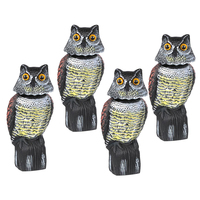4Pcs Realistic Owl Decoy with Rotating Head Garden Protection Bird Scarer Natural Enemy Scarecrow