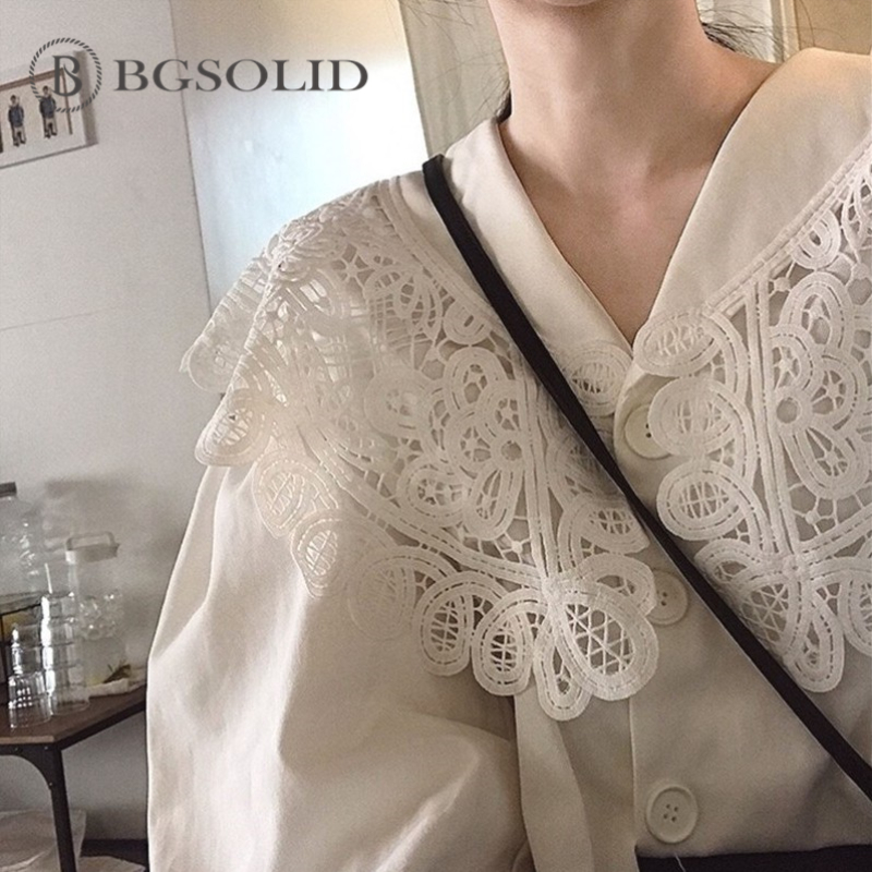 Hollowed Lace Korean Sweet Lace Loose Slim Lamp Big Lapel Shirt