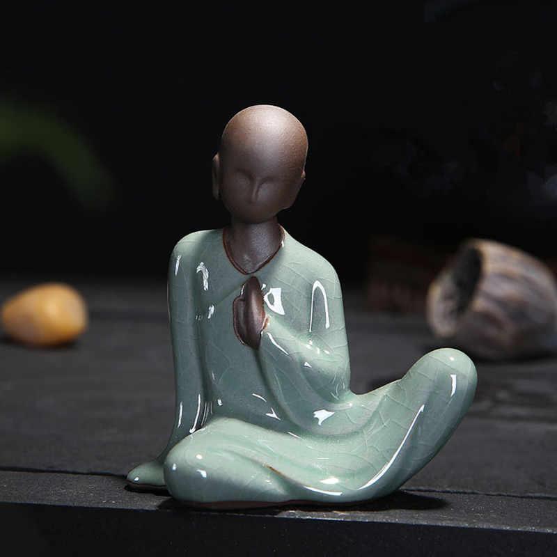 Mini Patung Buddha Tathagata India Yoga Mandala Patung Keramik Upacara Minum Teh Ornamen Hadiah Dekorasi Rumah Monk Figurine