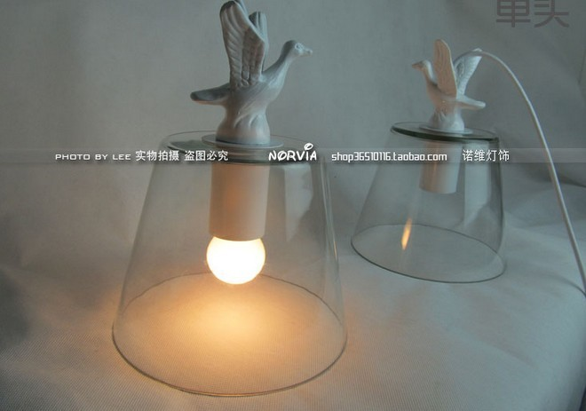 EMS FREE SHIPPING 3PCS Brief bedroom lights american white small pendant light dove