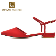 KATELVADI Casual Shoes Summer Sandals Low Heels Red Flock Topuklu Ayakkabi Bayan Sandalet K-338