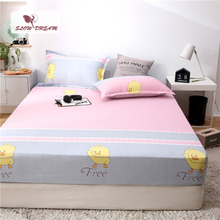 Slowdream 1PCS Cartoon Dark Bed Sheets On Elastic Band With Rubber Sheet Mattress Covers Double Single Size Fitted Corners