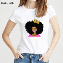 Summer 2019 Fashion Beautiful Black Girl print T Shirt Women Queen Crown T-Shirts Melanin shirt summer White Tops tees clothes(China)