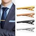 Alfiler de corbata 4 Unids/lote Mens Tie Clip Con la Caja flaco Tie Clip Pasadores Vidriosos Barras de Oro Delgada Corbata Trajes de Negocios accesorios
