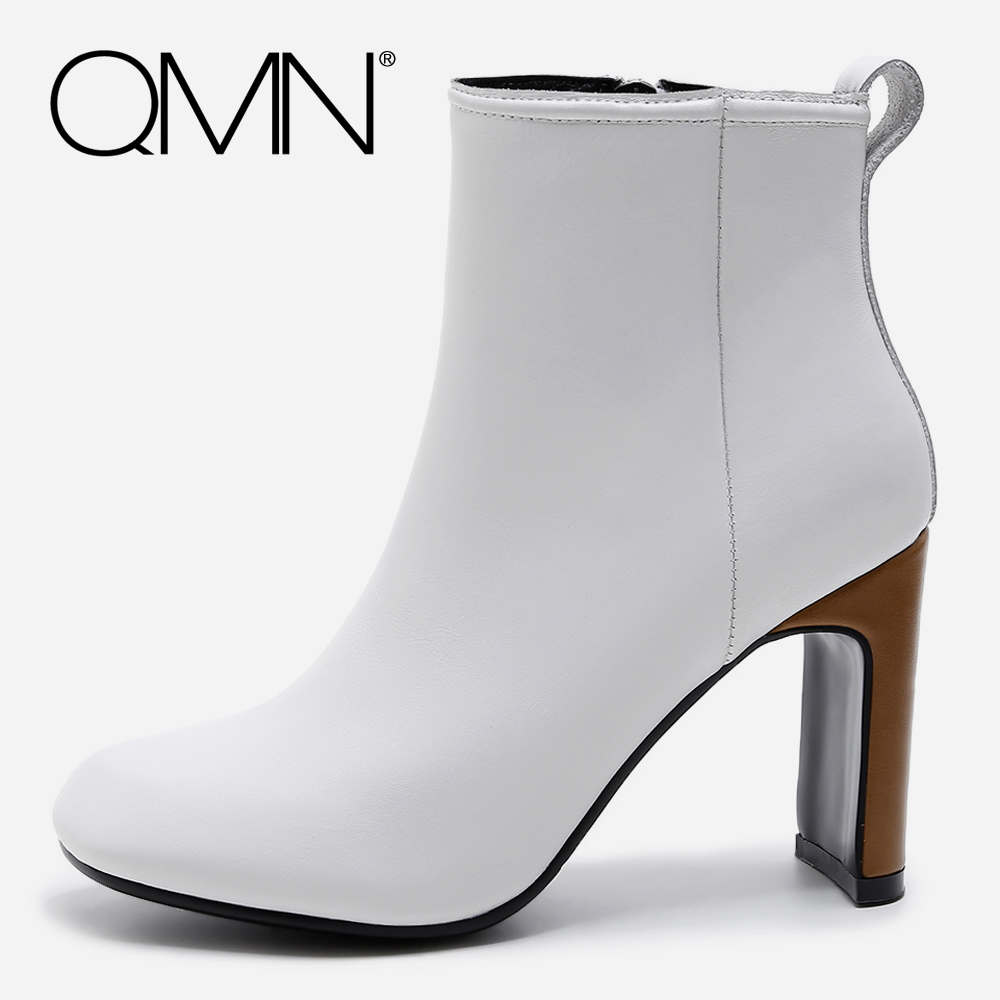 QMN women genuine leather ankle boots for Women Square Toe Fashion Boots Shoes Woman High Heel Basic Boots Botas Size 34-39 qmn women crystal trimmed brushed embossed leather brogue shoes women square toe oxfords shoes woman genuine leather flats 34 43