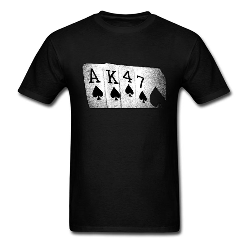 AK47 Mens Funny T-Shirt Soviet USSR Russian Poker Hand Printed t Shirt size S-3XL ...