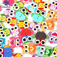 50Pcs Random Mixed Wooden OWL Buttons Two Holes Sewing Craft Scrapbooking Cardmaking For DIY Home Decor DIY Cloth Accessories