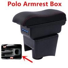Для Фольксваген Поло 2011- подлокотник коробка центральный ящик хранения с подстаканником пепельница автомобильные аксессуары