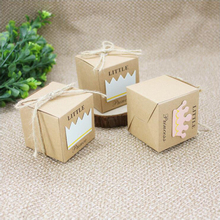 100pcs/lot Prince Princess pattern Kraft Paper Wedding Party Favors Baby Shower Gift Candy Boxes Package  With Hemp Ropes