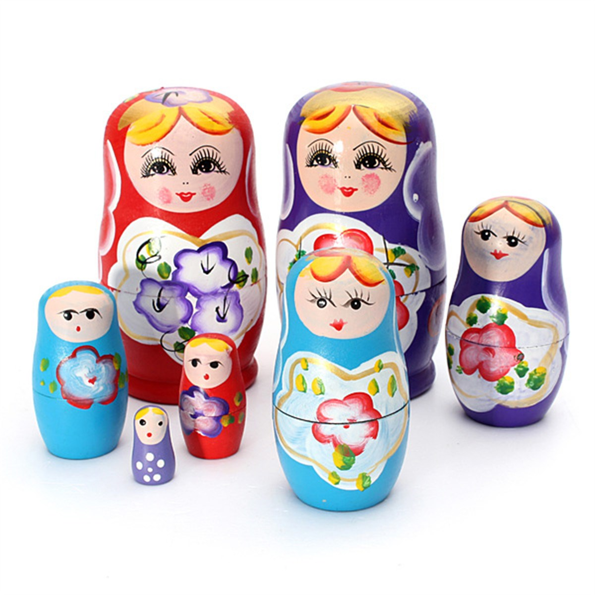 Lovely Russian Nesting Matryoshka 5 Piece Wooden Doll Set Wooden Doll Hand Painted Doll Toy