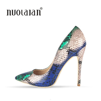 2018 Brand fashion Women Shoes Snake Printed Woman Shoes Sexy Stilettos High Heels 12cm/10cm/8cm Pointed Toe Women Pumps