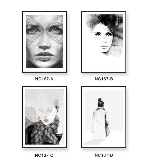 Bedwelming Moderne vrouwen gezicht foto zwart wit art muur print schilderen @OR73