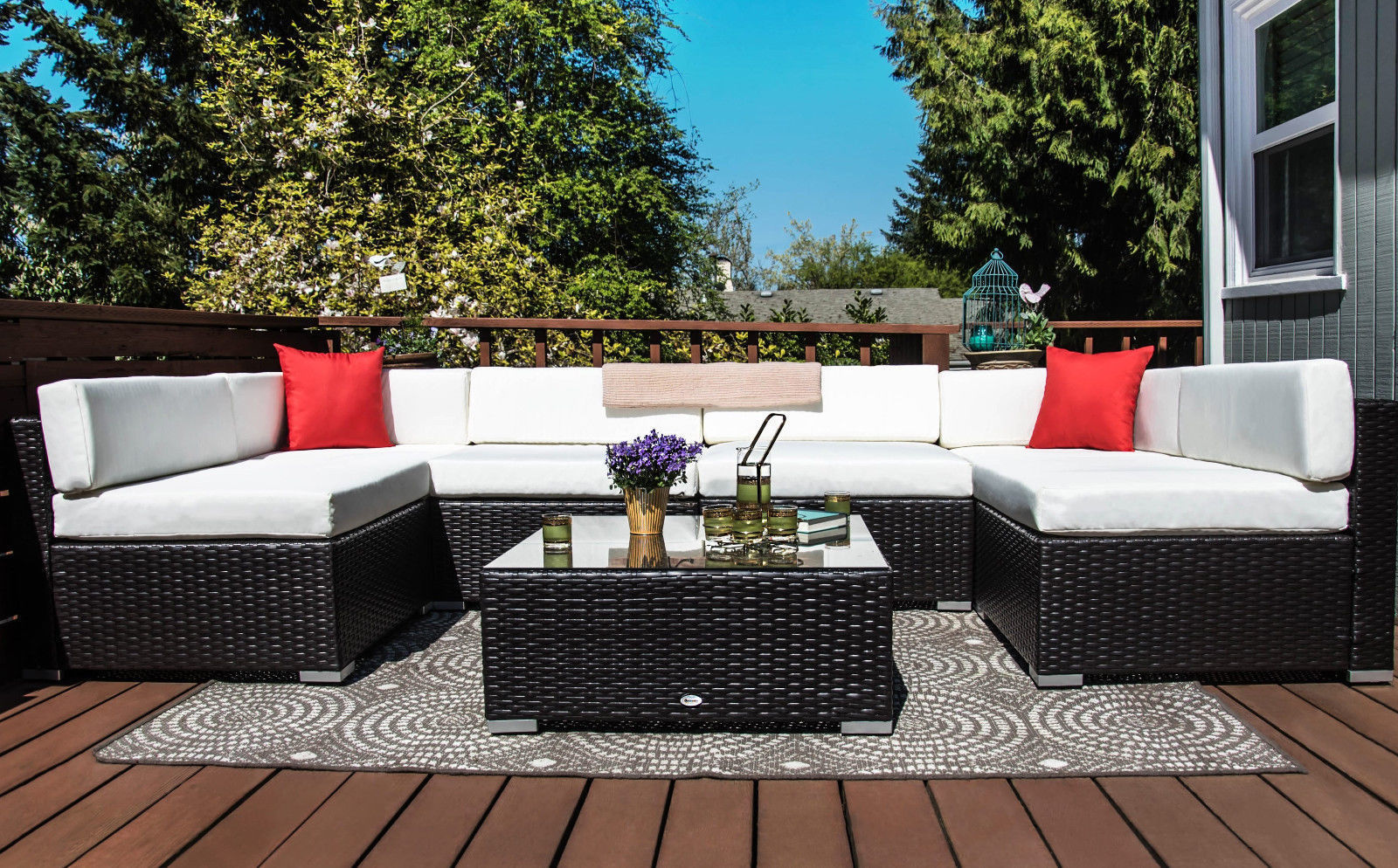 Pleasant Us 569 99 7 Pcs Rattan Wicker Outdoor Patio Furniture Couch Rattan Wicker Sectional Sofa Cushioned Set In Garden Sets From Furniture On Cjindustries Chair Design For Home Cjindustriesco