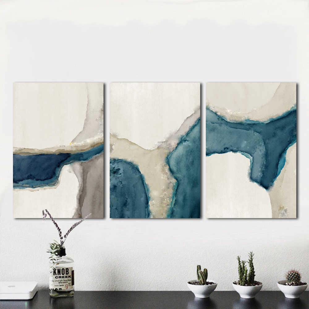 HDARTISAN Wall Art Painting Canvas Picture Abstract Print Blue River For Living Room Home Decor No Frame