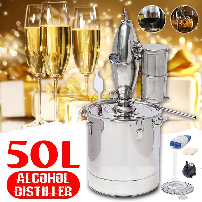 Durable 50L DIY Home Distiller Moonshine Alcohol Stainless Copper Water Wine Essential Oil Brewing KitDurable 50L DIY Home Distiller Moonshine Alcohol Stainless Copper Water Wine Essential Oil Brewing Kit