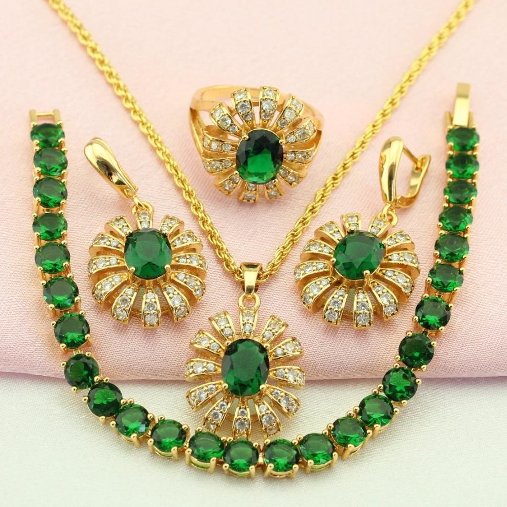 WPAITKYS Flor Verde Zirconia cúbica Conjuntos de joyas de color - Bisutería