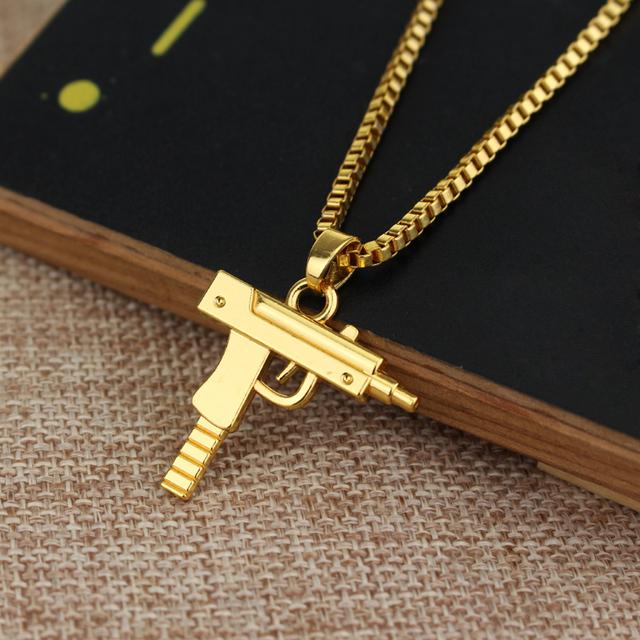 Wholesale 5  Fashion personality Hip Hop Uzi Gun Necklaces & Pendants Rose gold Chain Necklace for Men Women Party Accessories