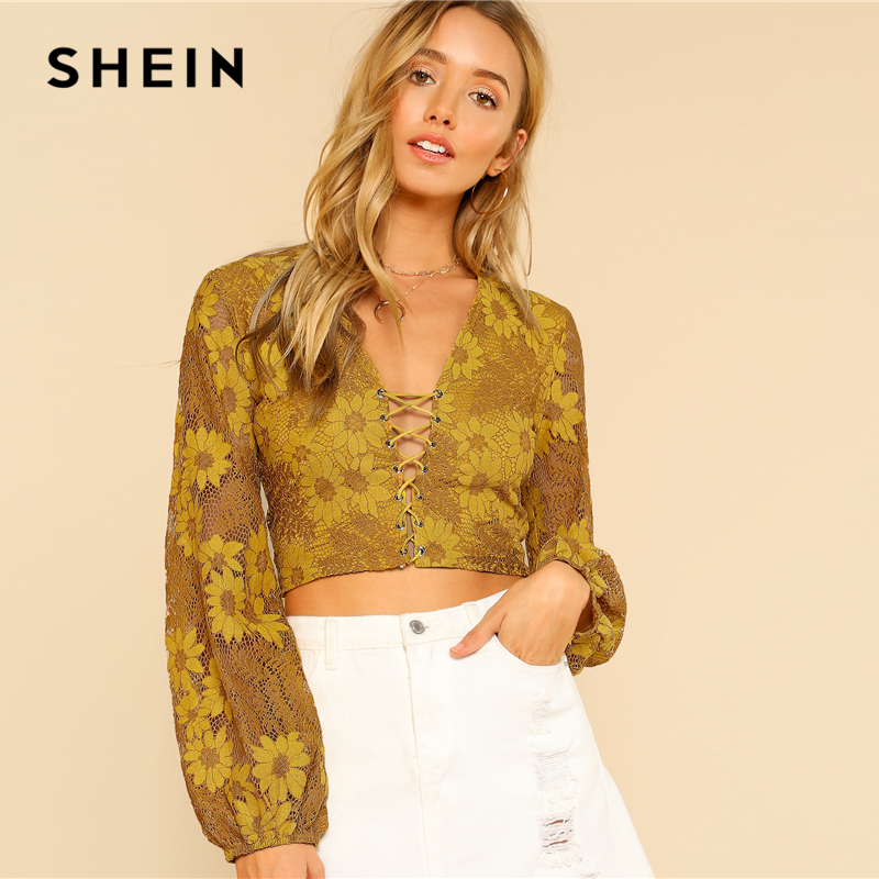 5f36ba9dc1bac5 SHEIN Grommet Crisscross Floral Crop Top Ginger Deep V Neck Puff Sleeve  Women Slim Lace Blouse 2018 Sexy Long Sleeve Blouse-in Blouses & Shirts  from Women's ...