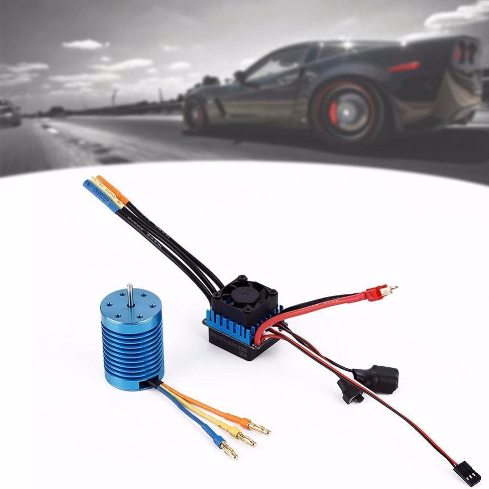 3650 4370KV Slot Sensorless Brushless Motor+45A Brushless ESC for 1/10 RC Car sensorless 35a brushless esc electric speed controller for rc car racing set ft