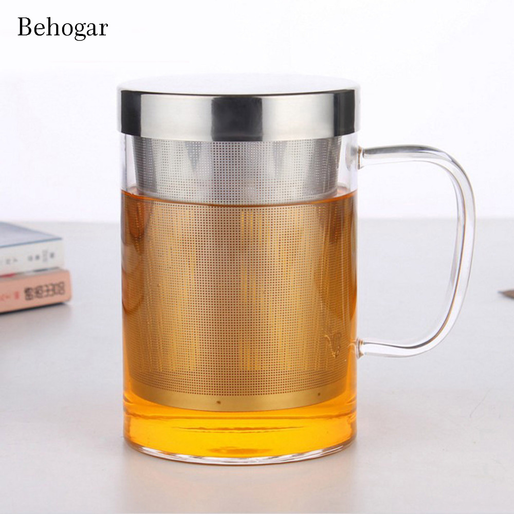 Behogar 500ML Clear Glass High Temperature Resistant Tea Brewing Cup Water Juice Coffee Flower Cups Mugs with Lids Strainer cup