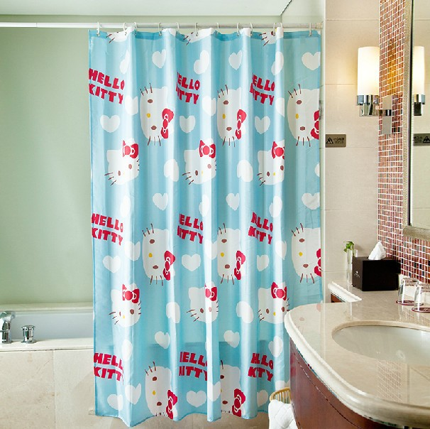 Cute cartoon lovely hello kitty shower curtain for kids polyester waterproof blue bathroom - Cortinas de hello kitty ...
