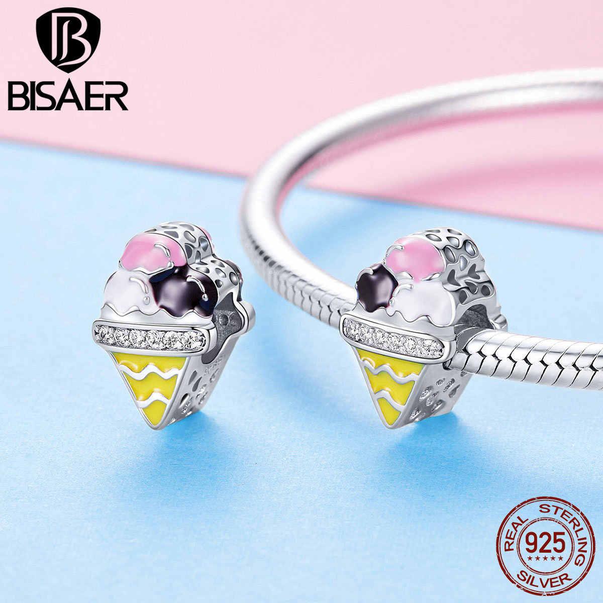Bisaer venda quente 925 prata esterlina colorido sorvete contas pingentes caber charme pulseira colar de prata diy 925 jóias ecc1129