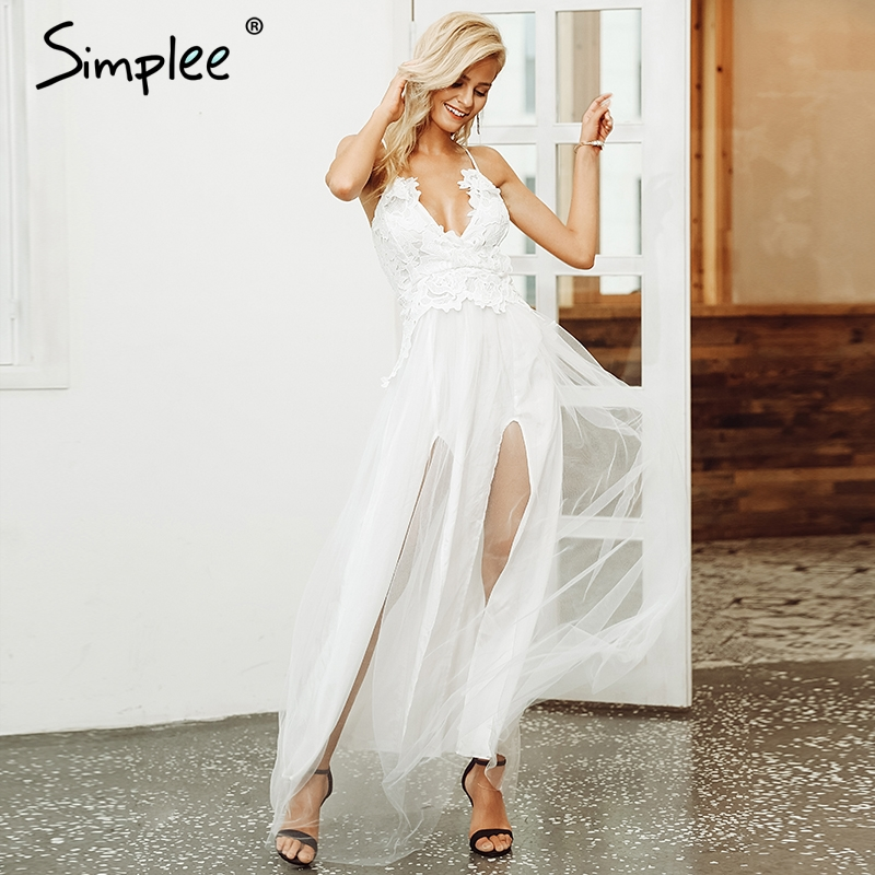 Simplee Sexy Deep V Neck Mesh Split Maxi Dress Women Elegant Lace Christmas White Dress Autumn Winter Long Party Dresses Vestido