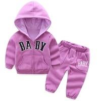 Baby Girls Autumn Hooded Coat Pants 2pcs Set Casual Kids Letter Embroidery Jacket Pants Set Children