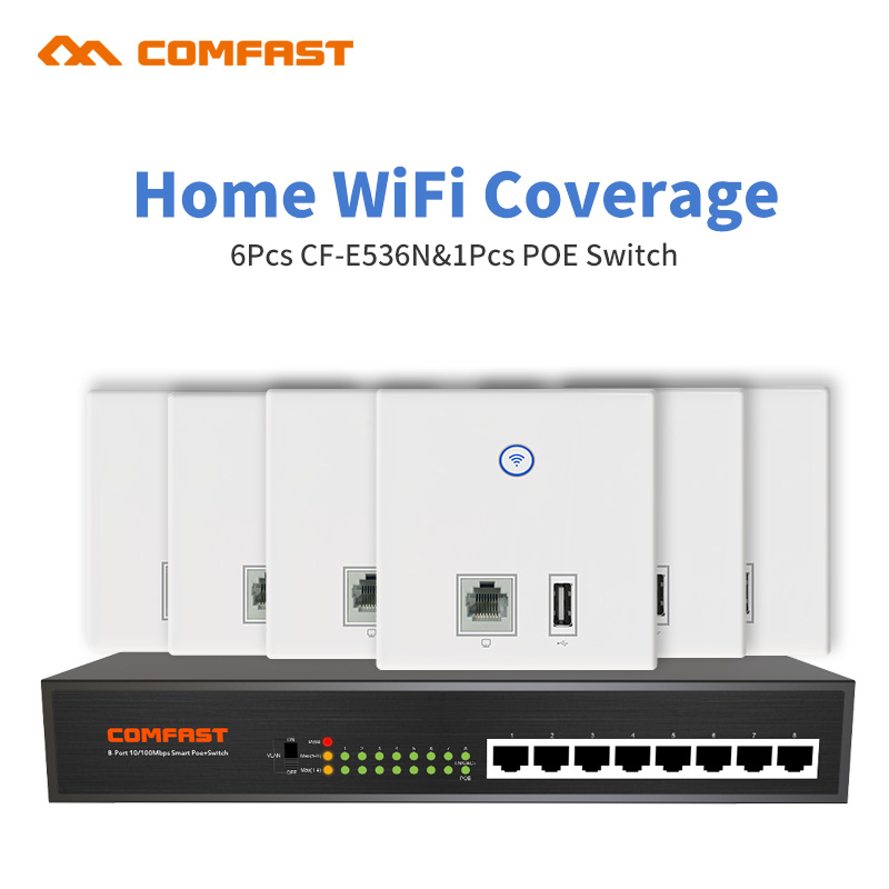 DHL Free Comfast Wifi Coverage Solution for Home Wifi networking managment solution 6pcs indoo wall ap with 1 8port poe switch цена