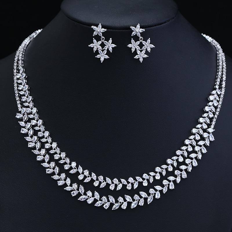 Newest Luxury Better Cubic Zircon Clear Necklace Earrings Set